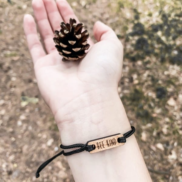 Bee Bracelet made of recycled wood